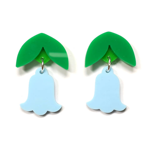 blue green acrylic bluebell earrings i am acrylic