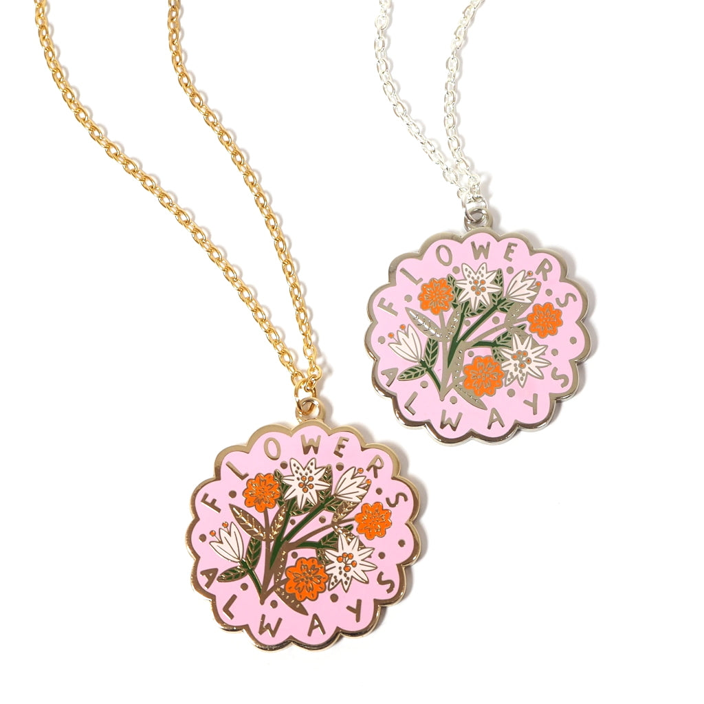 Flowers Always Necklace - Scallop Edged Enamel Pendant With Floral Bouquet Design - Pink with Gold or Silver Chain