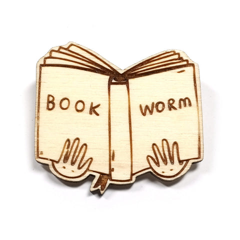 Wooden Book Worm Brooch by Kate Rowland