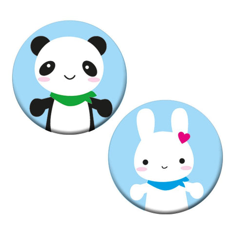 cute bunny and panda 2 button badge set
