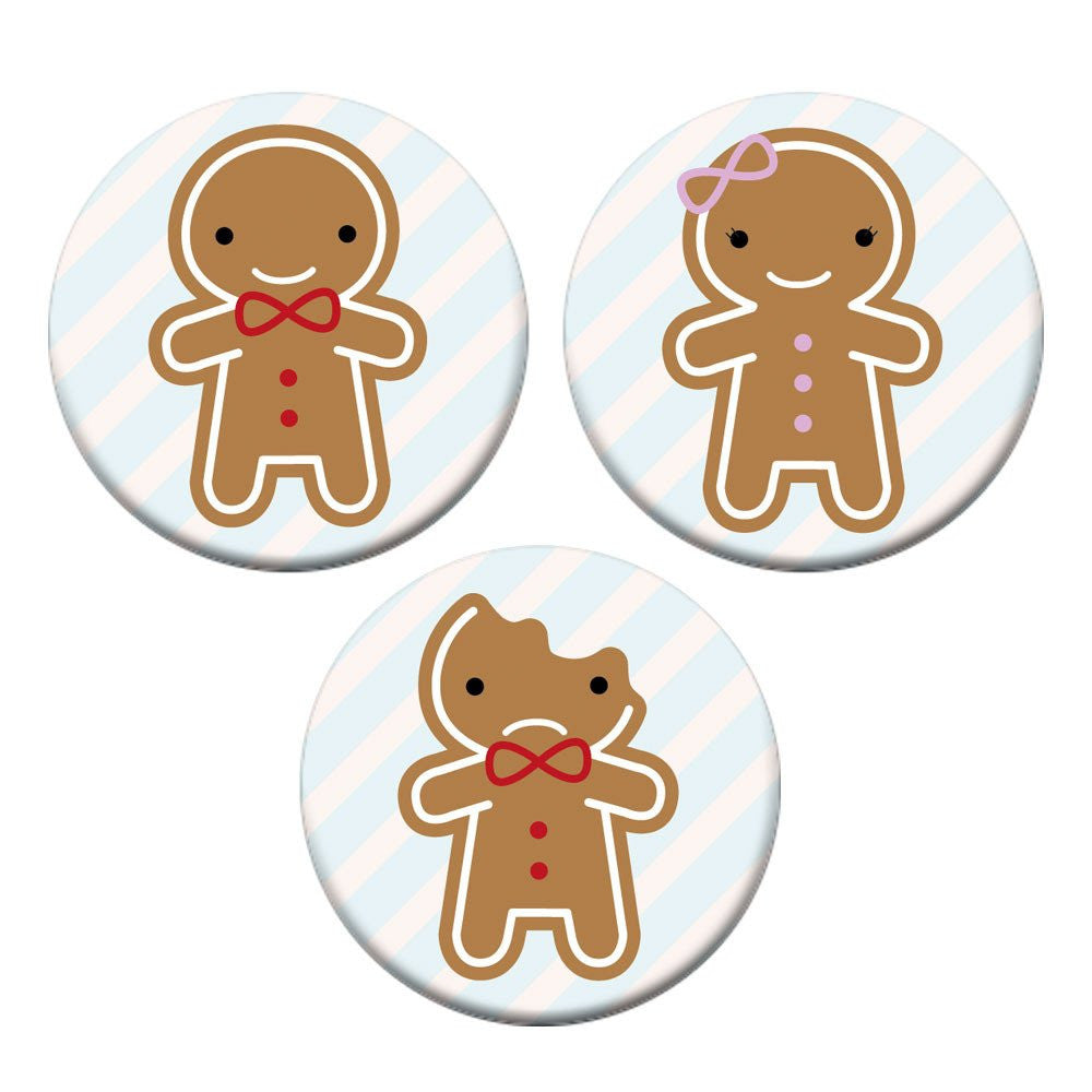 set of 3 gingerbread man woman button badges