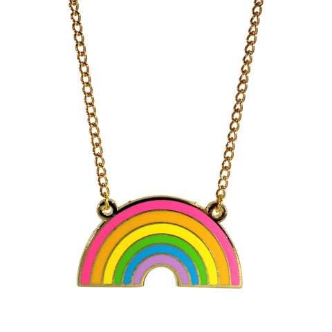 Buried Diamond Bright Neon Rainbow Enamel Necklace