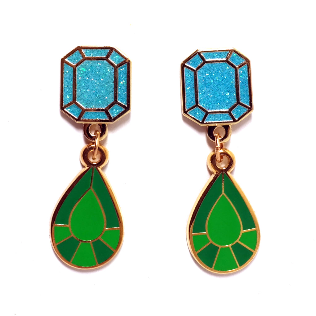 Light Blue glitter and turquoise green gem shaped enamel drop earrings by Buried Diamond