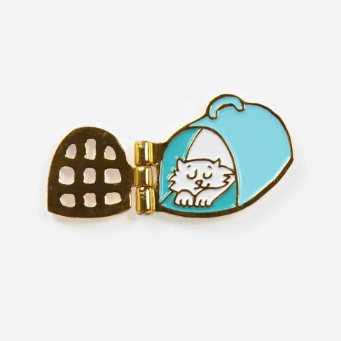 Coucou Suzette Articulated Cat Pin - Sleeping White Cat in Blue Crate
