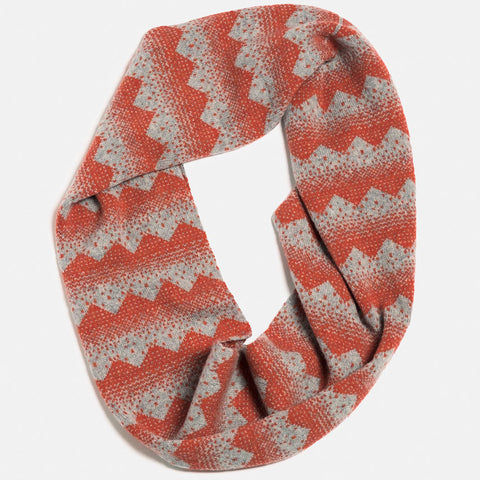 sanna lambswool circle scarf in grey and red by hilary grant