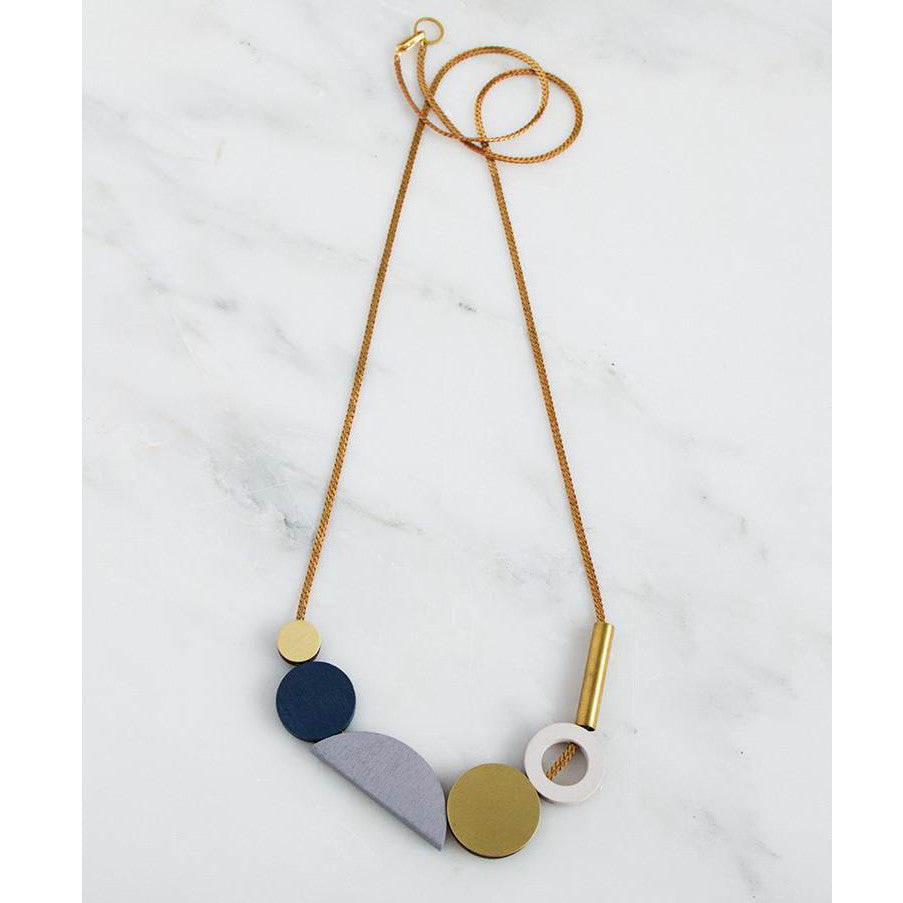 composition II necklace wood brass necklace by wolf and moon