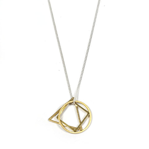 Geometric Brass Charm Convex Necklace