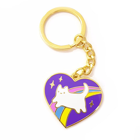 cosmic baby cat kitten rainbow enamel keyring chain