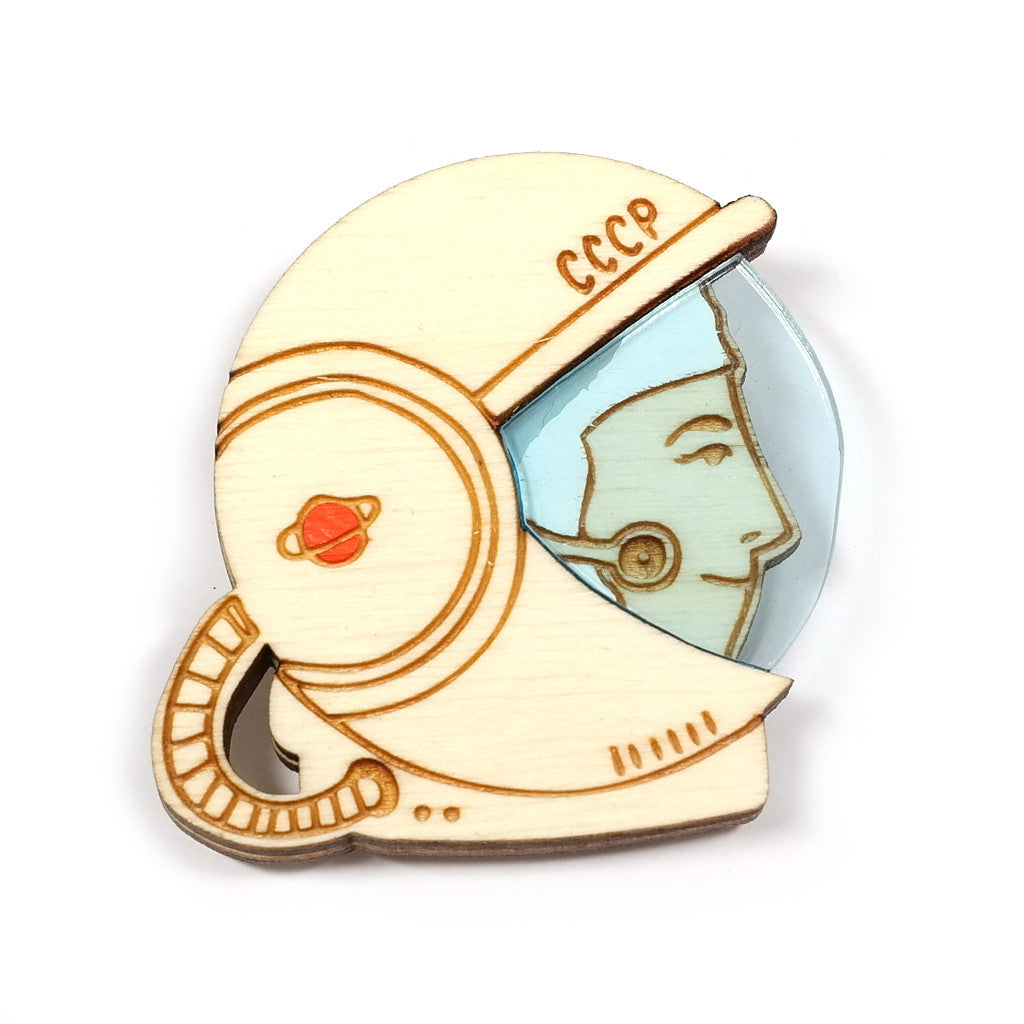 Wooden and Perspex Retro Cosmonaut Brooch by Kate Rowland