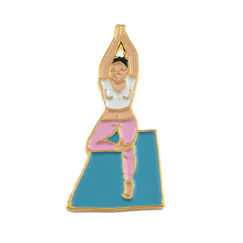 Yoga Enamel Pin - Lapel Badge with Woman Exercising in Tree Pose