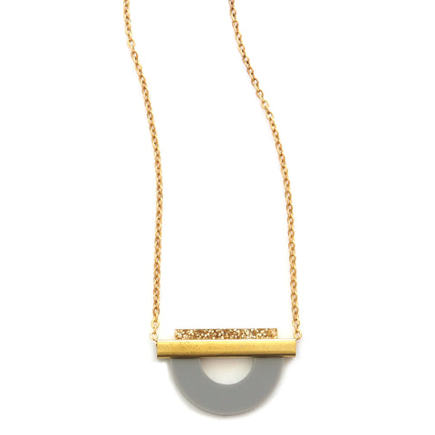 drop curve gold and grey acrylic and brass necklace