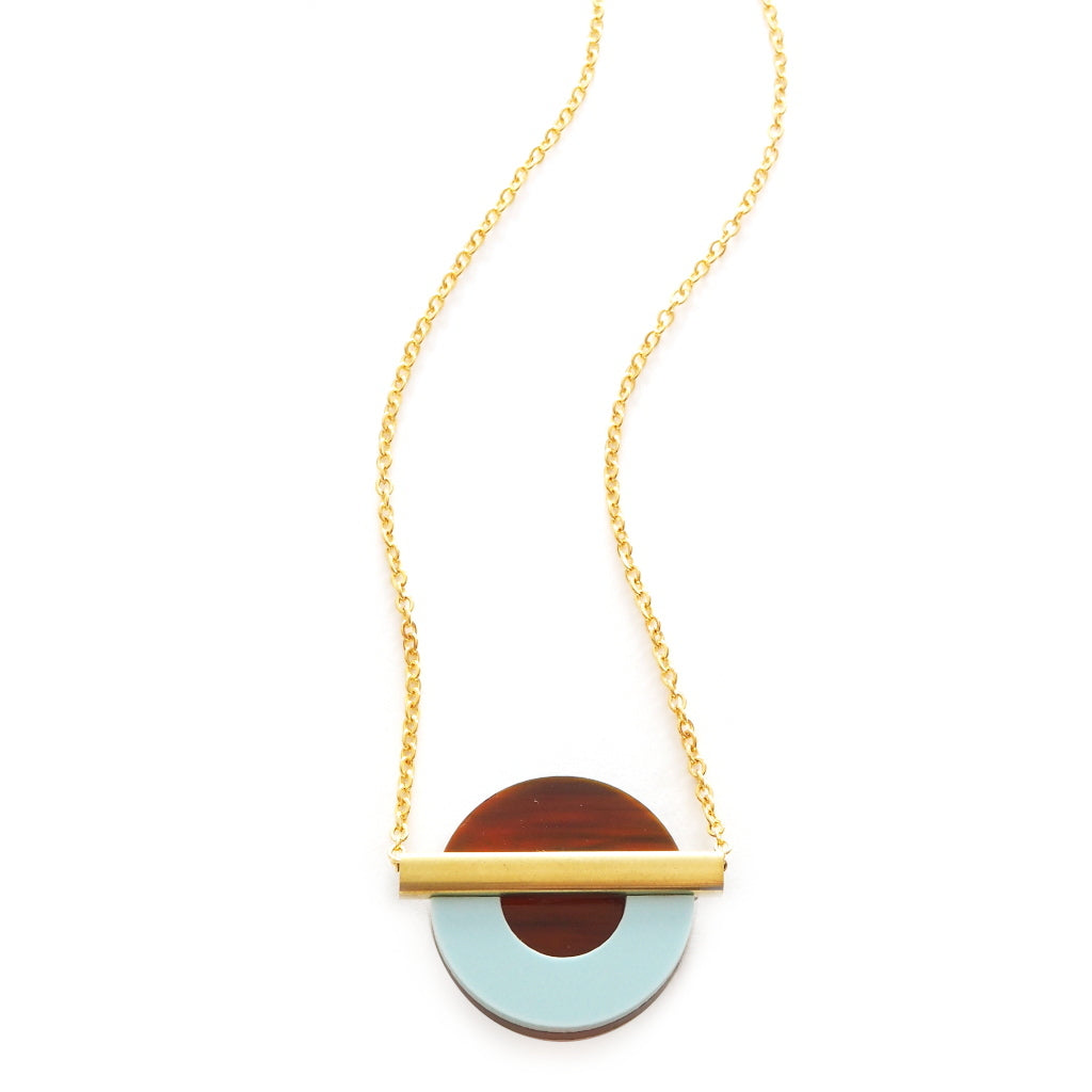 greta Mini Necklace in Acrylic and Brass