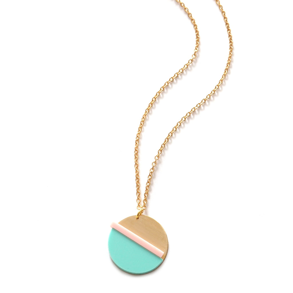 Horizon Necklace in Mint and Pink brass and acrylic necklace