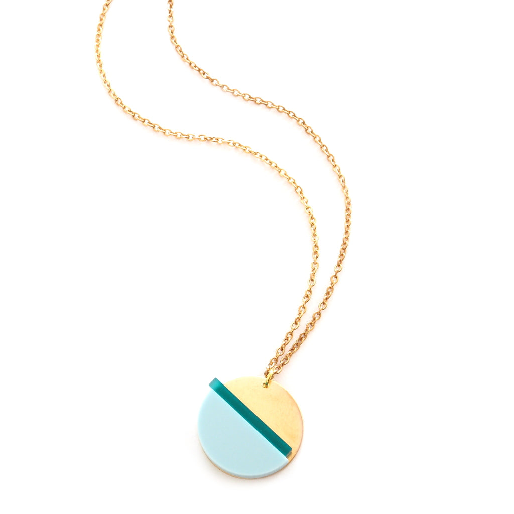 Geometric Brass and Acrylic Horizon Necklace by Custom Made