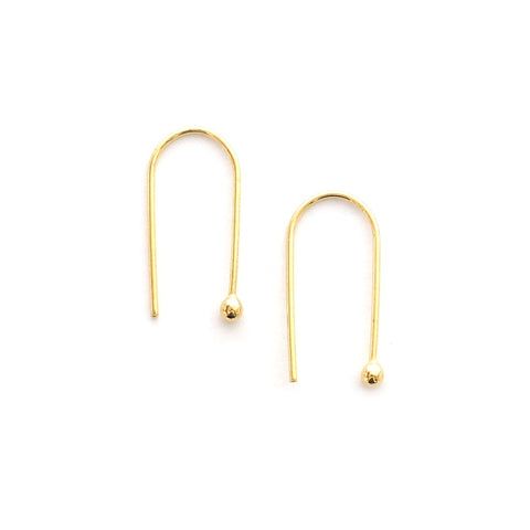 simple gold hook arc earrings
