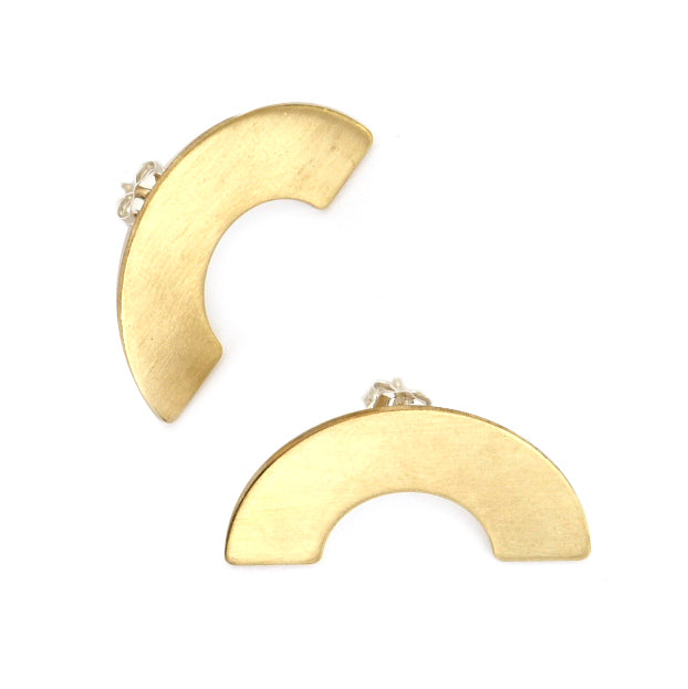 brass curve semi circle earrings