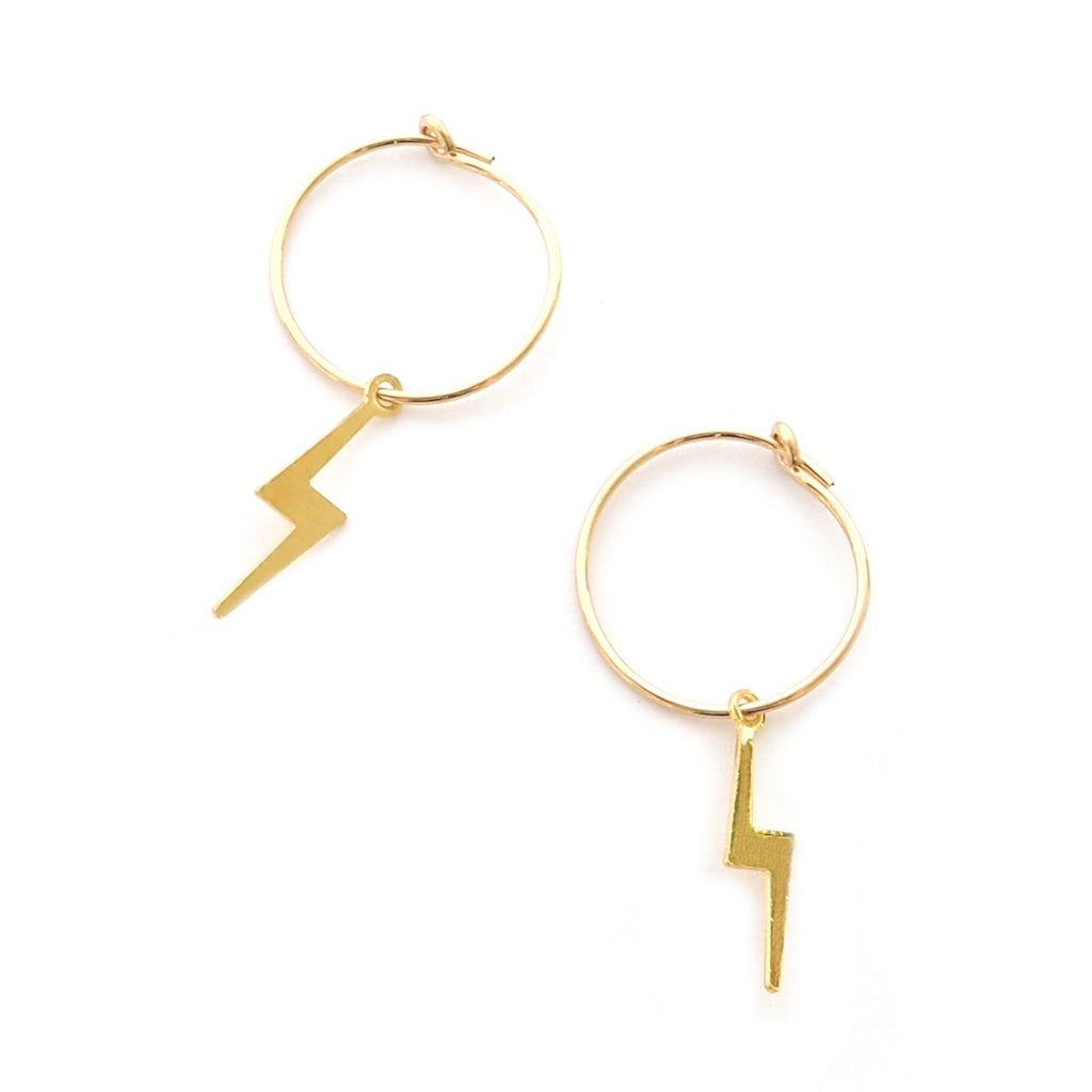 gold hoop lightning bolt earrings by custom made