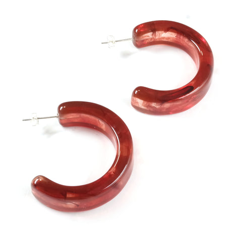 Ceto translucent jasper effect chunky acetate hoop earrings