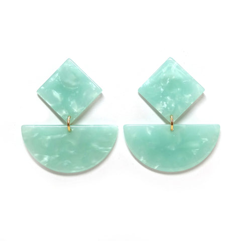 Persephone marbled mint green acetate dangly geometric earrings - semi-circle and square shapes