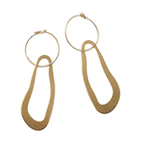 Brass and gold fill wavy hoop earrings by Custom Made