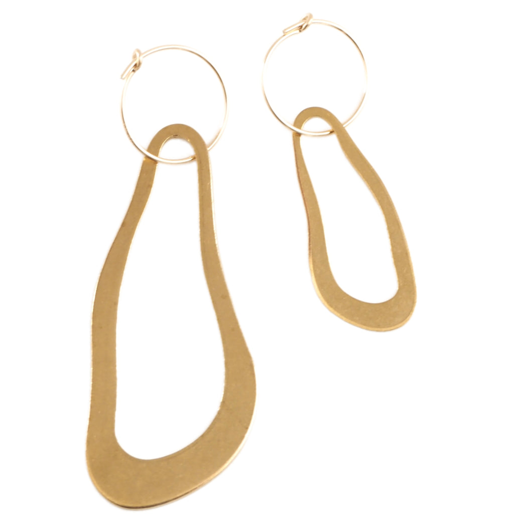 Asymmetric brass earrings with wavy organic shapes and gold hoops