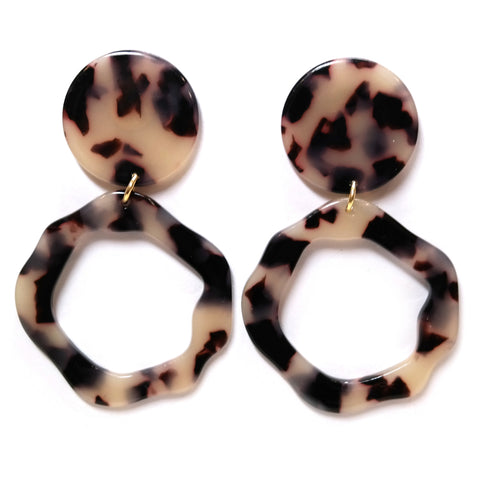 Selene earrings - tortoiseshell acetate wavy hoop and circle geometric design