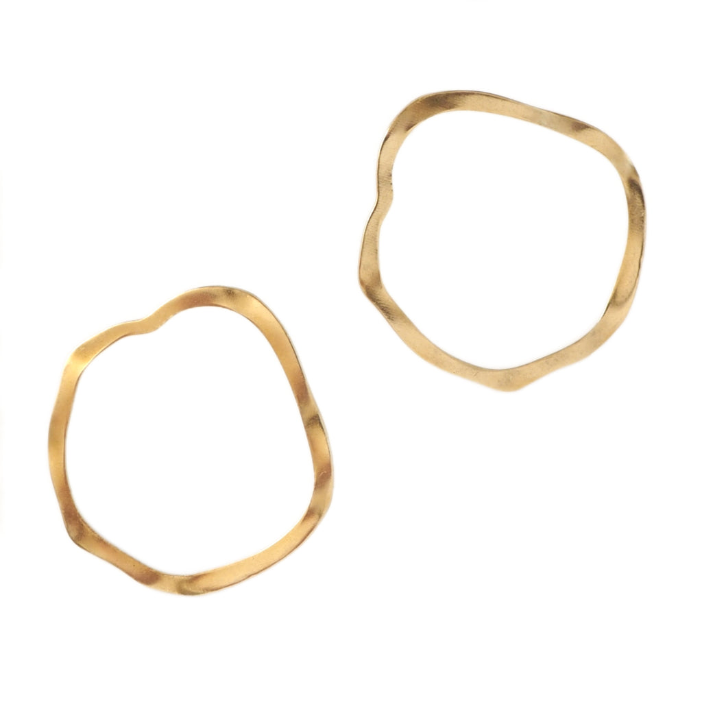 Wavy, irregular brass hoop earrings by Custom Made