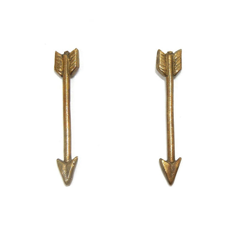 Arrow Earrings in Brass