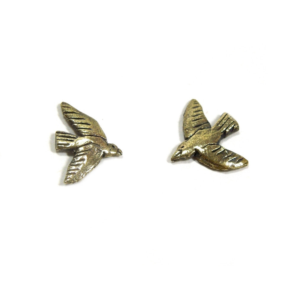Brass Tiny Bird Stud Earrings