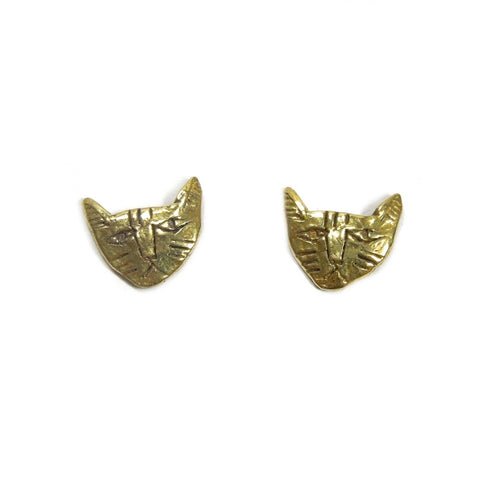 Gold Brass Tiny Grumpy Cat Face Stud Earrings