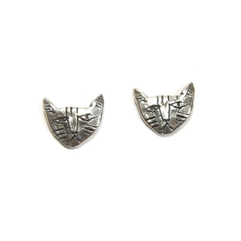 Tiny Cat Face Earrings in Silver