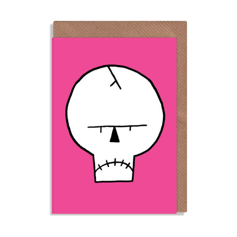pink grumpy skull greetings card illustrated by robbie porter