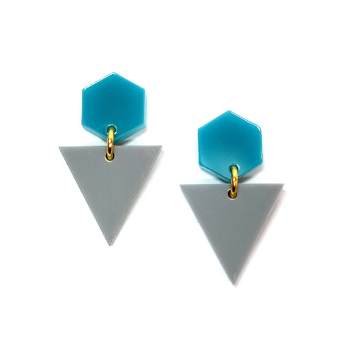 Turquoise Hexagon and Grey Triangle AcrylicEarrings