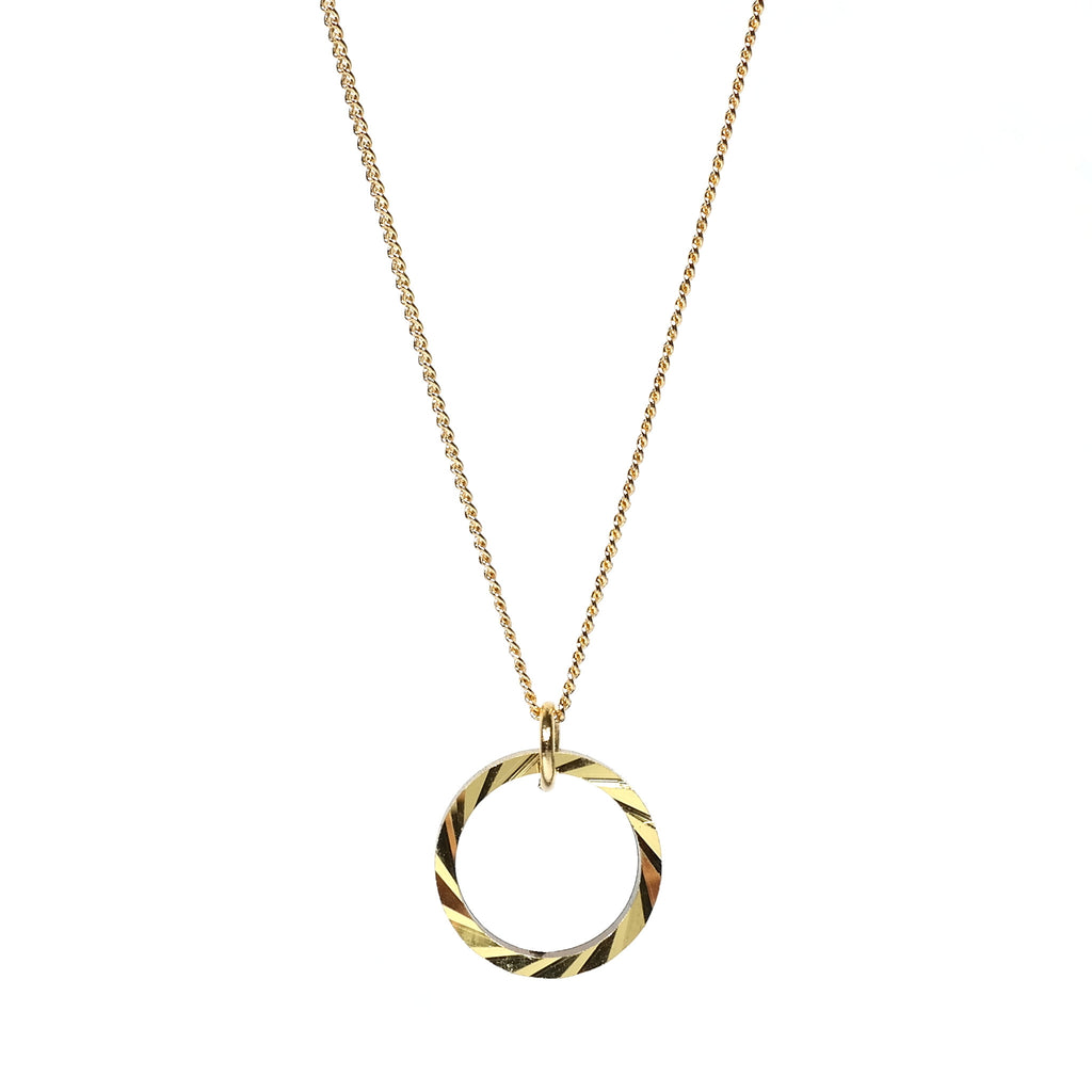 Different Shapes Gold Plated Necklace and Brass Hoop Pendant