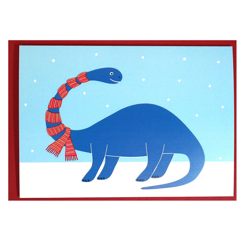 diplodocus in a scarf Christmas card