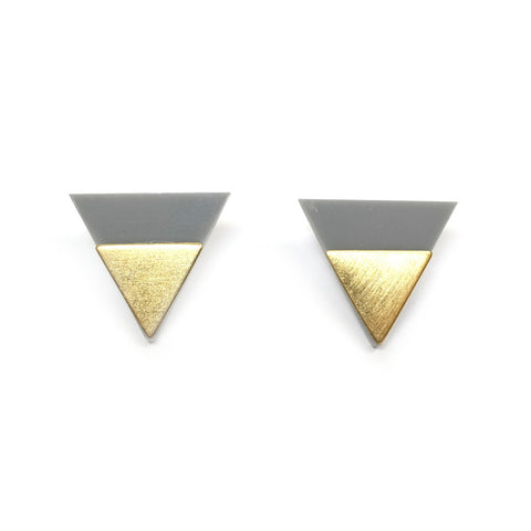Dip Triangle Studs in Grey