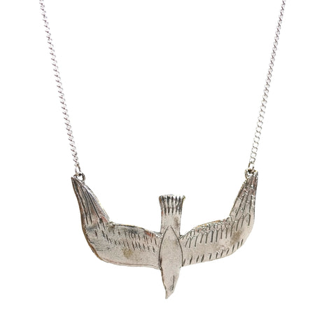 Silver Diving Bird Necklace