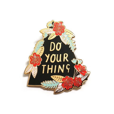 do your think black floral enamel pin bonbi forest