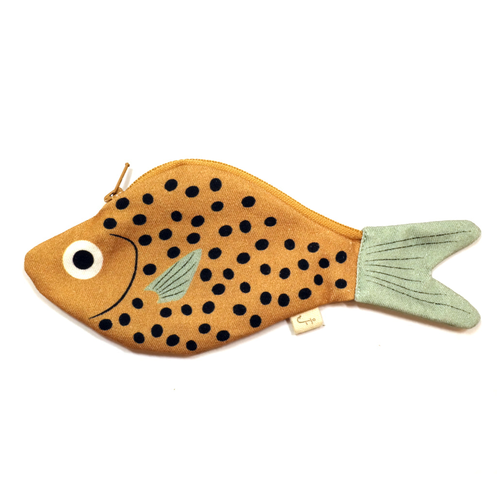 Don Fisher novelty fish shaped purse mustard yellow bream
