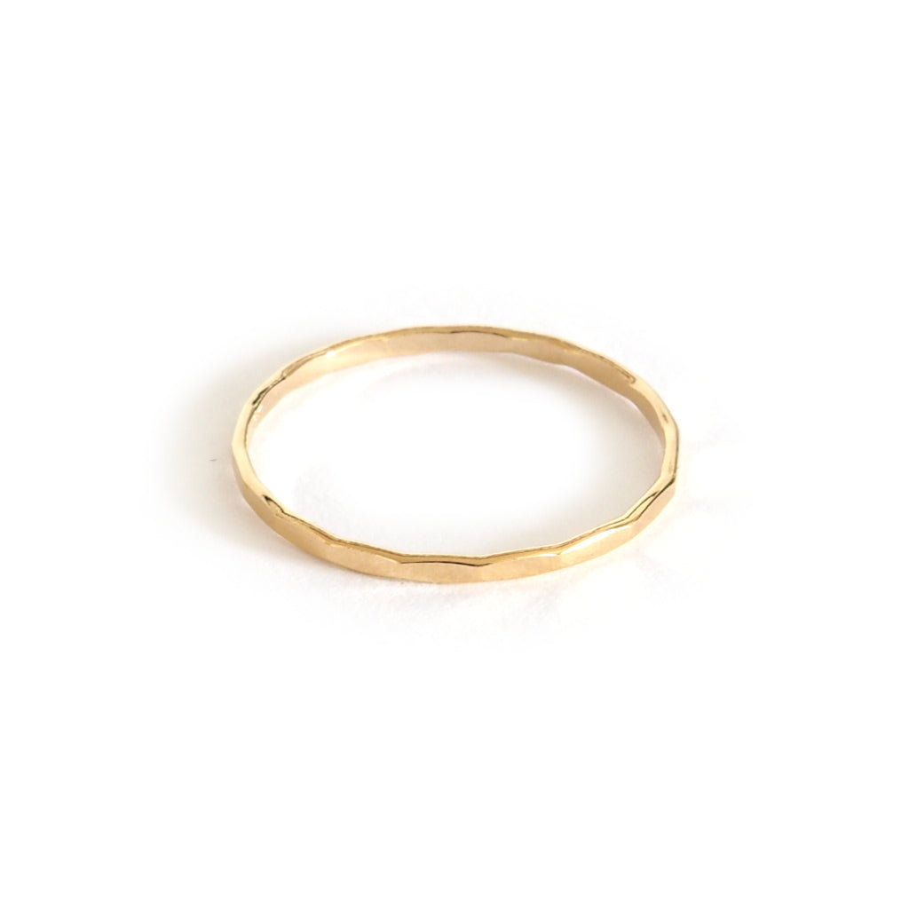 Ava stacking ring in gold, small faceted ring