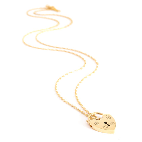 Gold Padlock Charm Necklace