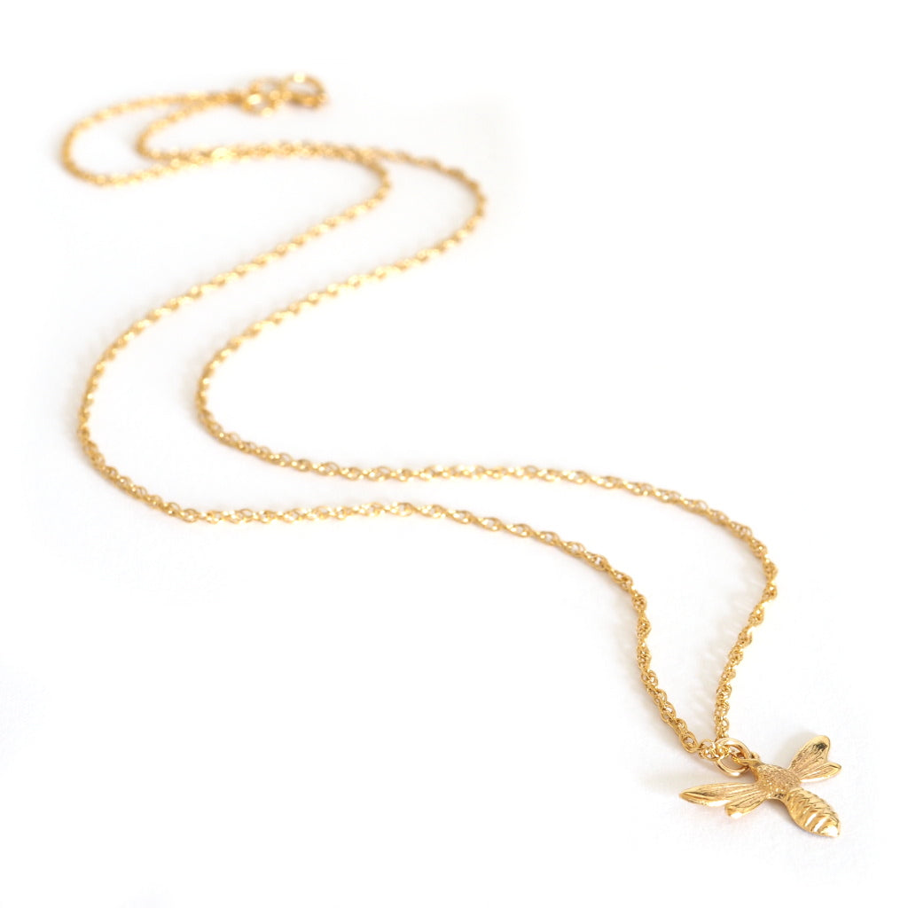 lucky charm necklace with gold bee charm