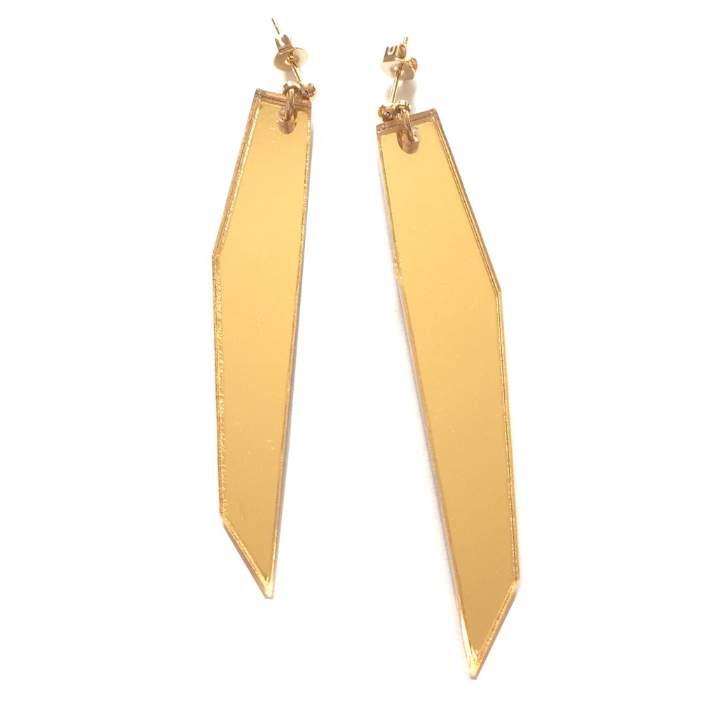 Shard 2 Gold Mirror Acrylic Asymmetric Earrings