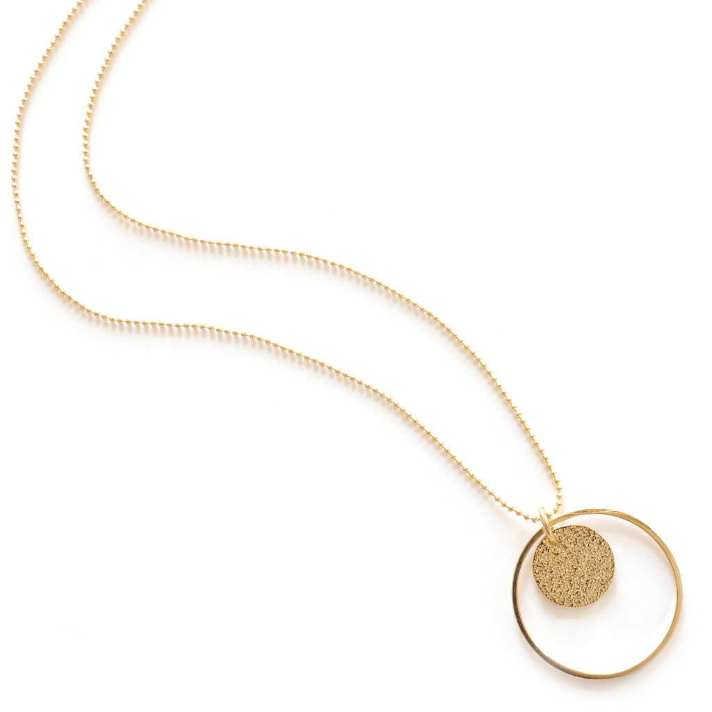 long chain stardust pendant hoop necklace in gold plate
