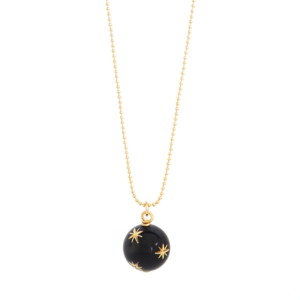 starry sky necklace black pendant with golden stars