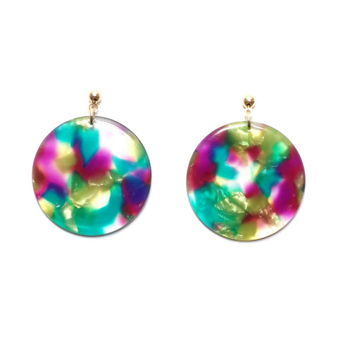 dotpop Aya acrylic disc earrings in multi colour and gold hear stem