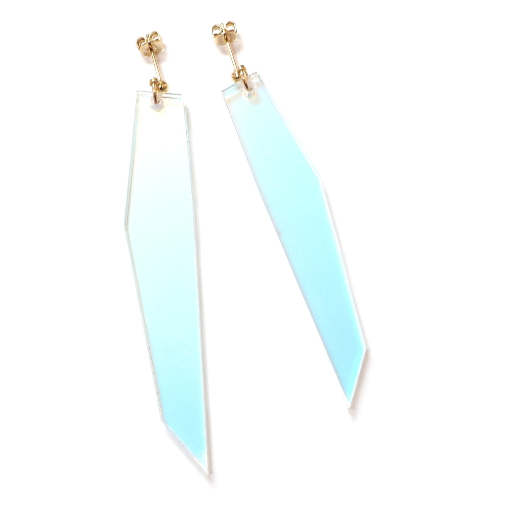 Shard 2 Iridescent acrylic asymmetrical earrings