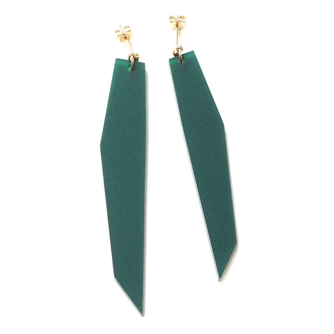 Shard 2 Asmmetric Acrylic Earrings in Frosted Pine Green