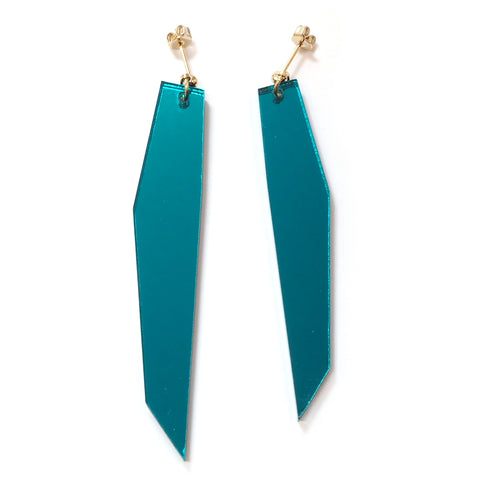 Shard 2 Teal Mirror Acrylic Asymmetric Earrings