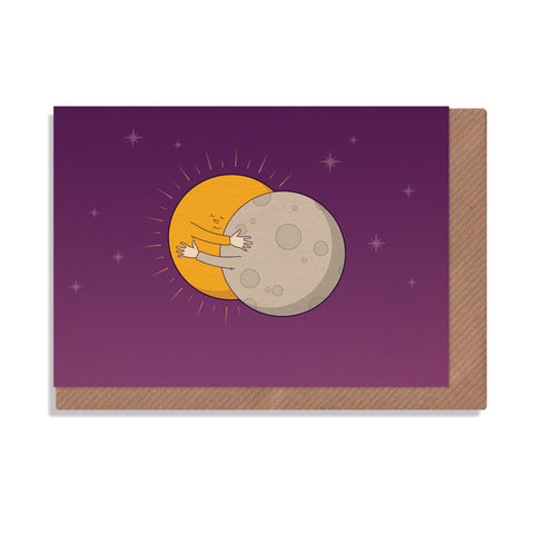 eclipse sun and moon hugging greetings card by robbie porter